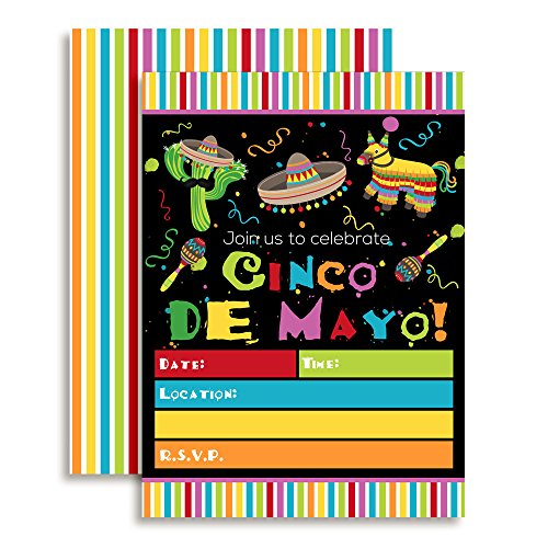 Cinco De Mayo Fiesta Party Celebration Invitations, Ten 5