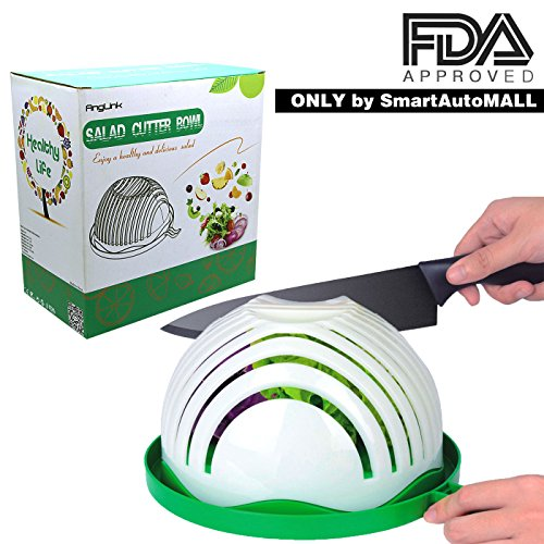 Salad Cutter Bowl, Family-Sized Salad Chopper Bowl Maker Fast Fruit Vegetable Cutter Bowl, Salad Slicer Strainer Cutting Board All in One for Kitchen