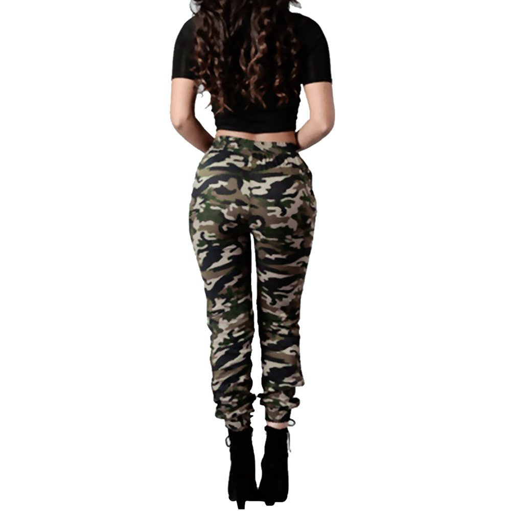 b84e50c29c02a1 Charberry Womens Camouflage Printed Bandage Trousers Military Army Green  Casual Loose Pants (US-6 /CN-M): Baby