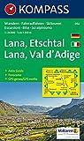 Lana-Etschtal/Lana-Val d'Adige: Wander-, Bike- und Skitourenkarte mit Panorama. GPS-genau. 1:25.000