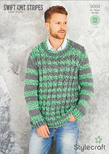 Stylecraft Mens Sweaters Swift Knit Stripes Knitting Pattern 9059