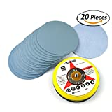 5-Inch 5000 Grit Aluminum Oxide Wet/Dry Hook and Loop Sanding Discs with a 5/16-24 Inch Thread Backing Pad + Soft Sponge Buffering Pad, 20-Pack