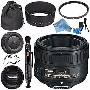 NikonAF-S NIKKOR 50mm f/1.8G Lens 2199 + 58mm UV Filter + Lens Pen Cleaner + Fibercloth + Lens Capkeeper + Lens Cleaning Kit Bundle