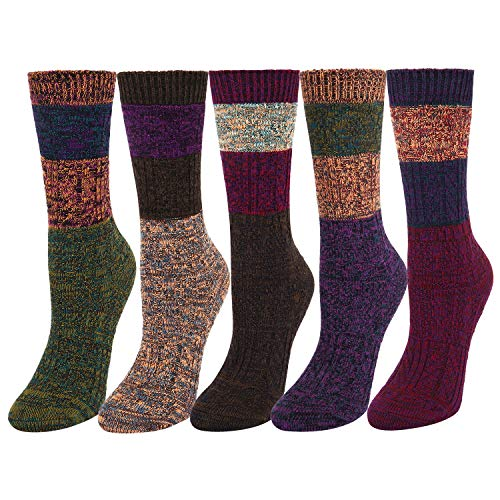 5 Pack Women's Soft Warm Thick Knit Cotton Crew Socks Vintage Colorful Casual Fall Winter Socks