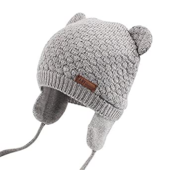 0450d084ff9 XIAOHAWANG Warm Baby Hat Cute Bear Toddler Earflap Beanie for Fall Winter  (0-7Months
