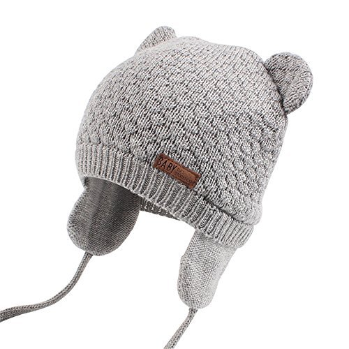 Earflap Pattern Hat Crochet - XIAOHAWANG Warm Baby Hat Cute Bear Toddler Earflap Beanie for Fall Winter (0-7Months, Grey)