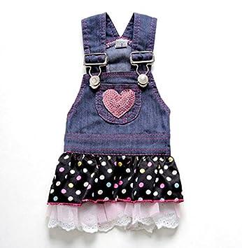 Smalllee _ Lucky _ Store femmina Small Medium Dog cuore grande gatto vestito jeans SMALLLEE_LUCKY_STORE