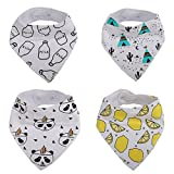 Baby Bandana Bib for Drooling and Teething, 100% Soft Organic Absorbent Cotton, Hypoallergenic - Unisex Gift Set 4-Pack by Vicsou