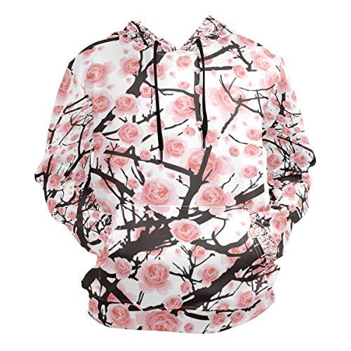 Men's Hoodies Sweatshirt Flower Sakura Tree Cherry Blossom Long Sleeve Pullovers ()