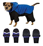 DOG SNOWSUIT & BOOT SETS - Red or Blue Snow Suit with FREE Matching Snowboots !(Large Royal Blue)