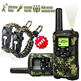 Kids Walkie Talkies Boys Toy - Rokkes PMR446 Walki Talki Kids Long range 3 Km Walky Talky Kids boys 2 way Radios Walkie Talkie With 8 Channels VOX Flashlight for Game Camping Hiking Biking (2pcs Camo) Strap and Paracord Bracelet Included