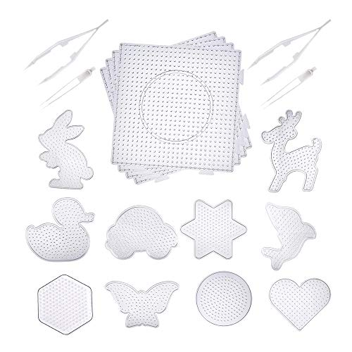 (14pcs Fuse Beads Boards- 4 Pieces 5 mm Large Square Clear Plastic Pegboards 10 Pieces 5 mm Small Cute Fuse Beads Pegboards with 4 Pieces Fuse Bead Tweezers)