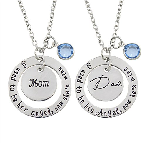 Myhouse Mothers Day Fathers Day MOM DAD Letter Tag Necklace Round Hollow Rhinestone Pendant for Gifts Charms Findings (MOM)