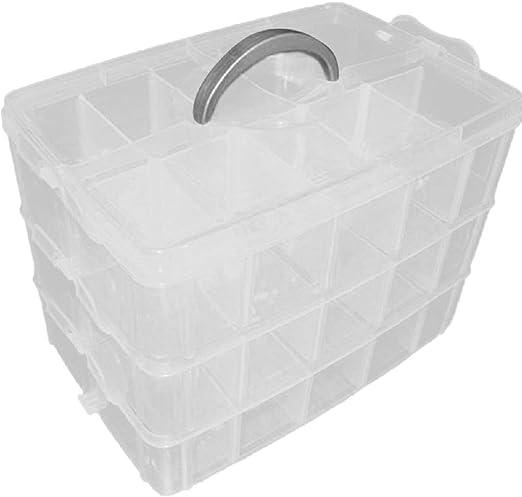 Yardwe Caja Almacenamiento 3 Niveles plástico Ajustable maletín Organizador con 30 Compartimentos (Blanco): Amazon.es: Hogar
