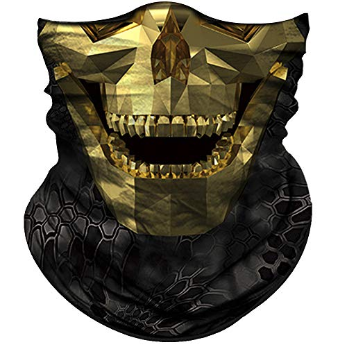 Obacle Face Mask Half Sun Dust Wind Protection Durable Tube Face Mask Bandana Skull Skeleton Face Mask for Men Women Bike Riding Motorcycle Fishing Cycling (Skull Geometry Gold Face Open -