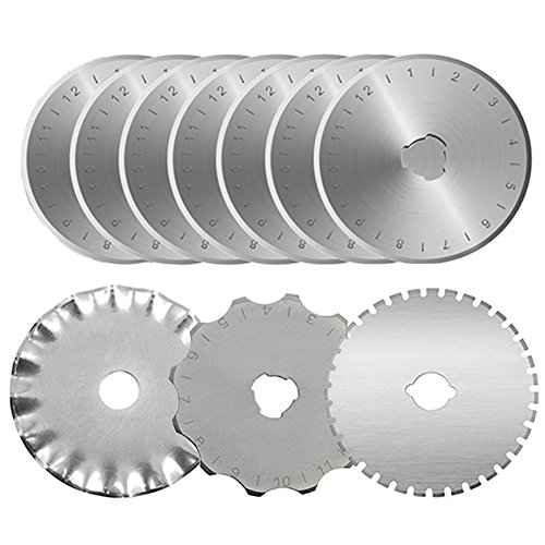 KISSWILL Rotary Cutter Blades 45mm, 10 Pack 45mm Rotary Blades Fits for Fiskars Olfa Martelli Truecut 45mm Cutter Replacement, Sharp and Durable