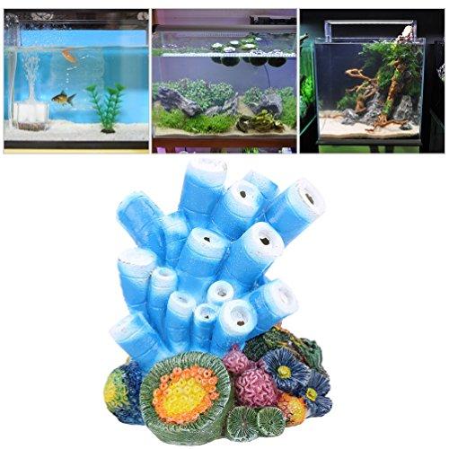 (Petacc Aquarium Decorations Simulated Floating Rock Decoration Resin Fish Tank Ornament Aquarium Landscape Rocks with Suction Cups (Coral))