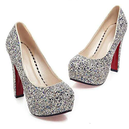 Mujer Sequin Pump Zapatos ZHZNVX Poliuretano Round Fall de PU amp; Gold Tacones Blue Basic Spring y Heel Fiesta Toe Noche White White Chunky pS4ZEqZ
