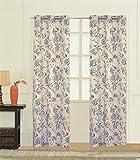 Cheap United Curtain Fiona Window Curtain Woven Pair of Printed Panel, 74 x 84″, Blue