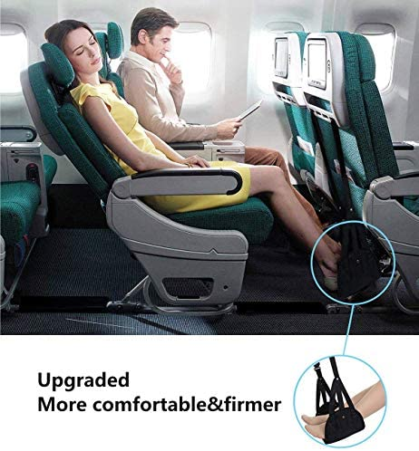 Airplane footrest, Portable Airplane Travel Foot Rest Hammock for Flight Bus Train Office Home Airplane Travel Accessories Legs Hammock with Adjustable Height,Black,Vefanny 51EA4CZHwJL