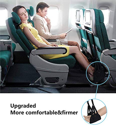 Airplane footrest, Portable Airplane Travel Foot Rest Hammock for Flight Bus Train Office Home Airplane Travel Accessories Legs Hammock with Adjustable Height,Black,Vefanny by Verfanny (Image #5)