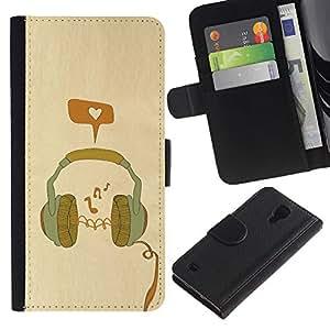 KingStore / Leather Etui en cuir / Samsung Galaxy S4 IV I9500 / Cuffia
