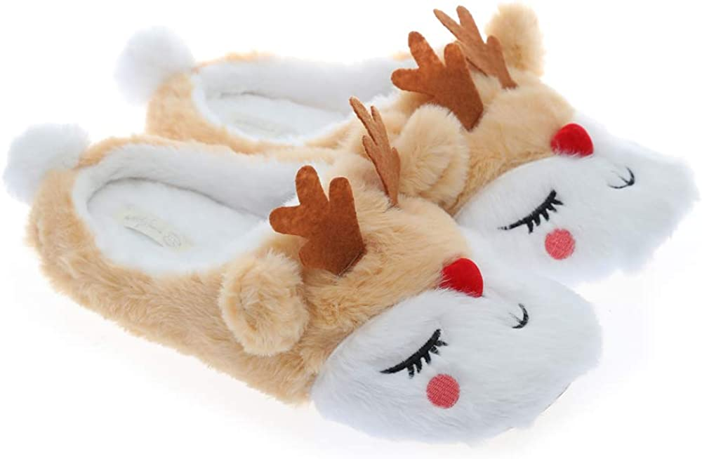 Millffy New Fluffy Rainbow Unicorn Slippers Warm Anti-Slip Slippers Unicorn Gifts for Girls