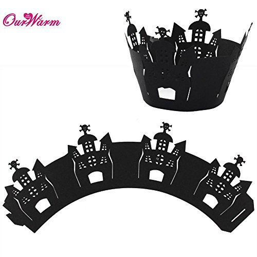 KathShop Halloween Decorations 12pcs Cupcake Wrappers Wraps Case Hollow Laser Cut Cake Decorating Supplies Halloween Party Accessories