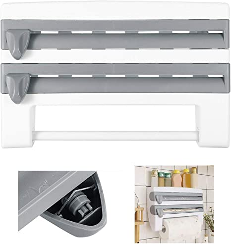Amazon Com Durable Multi Function Wall Mount Holder Rack Kitchen Roll Dispenser Cling Film Tin Foil Paper Towel Plastic Gray