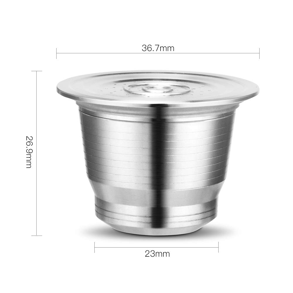 Bresuve Stainless Steel Metal Refillable Coffee Capsule for Nesspresso Machine with 1 Spoon and 1 Brush Reusable Refillable Coffee Capsule