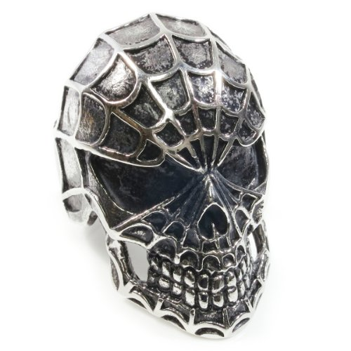 Stainless Steel Spider Web Skull Man Boy Biker Ring Size 10