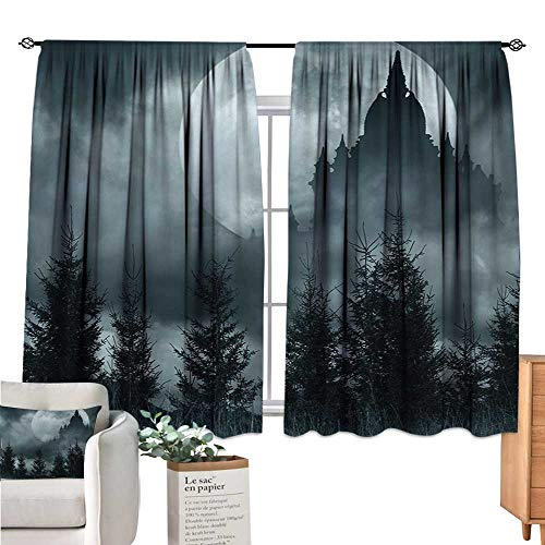 Warm Family Halloween Small Window Curtain Magic Castle Silhouette Over Full Moon Night Fantasy Landscape Scary Forest Grey Pale Grey Curtain Panels W63 x L63 -