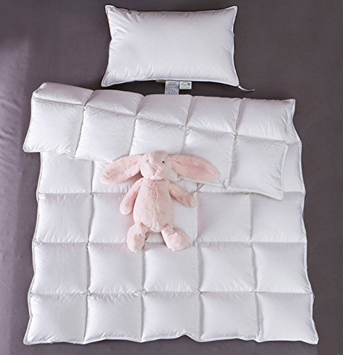 Baby White Down Comforter - Baby Summer Lightweight Crib Blanket/Comforter,100% Natural White Goose Down Filled for Crib Bedding,Suit for Newborn and Toddlers,Soft and No Sound (White, 33x43in)