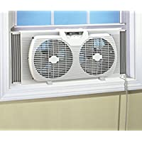 Dual Blade 9-Inch Twin Window Fan with Cover Portable Reversible Airflow, White