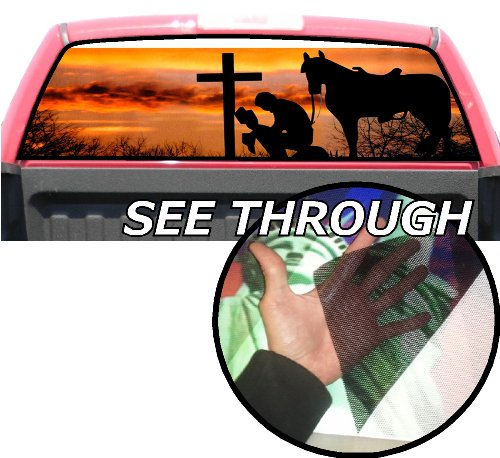 P50 Cowboy Praying Tint Rear Window Decal Wrap Graphic Perforated See Through Universal Size 65
