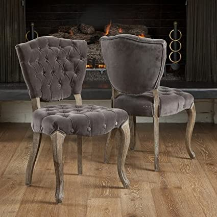 Christopher Knight Home Bates Stylish Contemporary Upholstered Tufted Grey  Fabric Dining Room Chairs (Set Of
