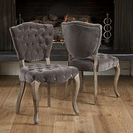 christopher knight home bates stylish upholstered tufted grey fabric dining room chairs set of