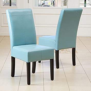 Awe Inspiring Amazon Com Set Of 2 Dining Room Teal Blue Leather Parsons Uwap Interior Chair Design Uwaporg