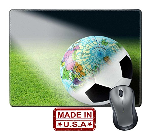 """Liili Natural Rubber Mouse Pad/Mat with Stitched Edges 9.8"""" x 7.9"""" IMAGE ID: 11040392 Soccer balls and globes created in Photoshop"""
