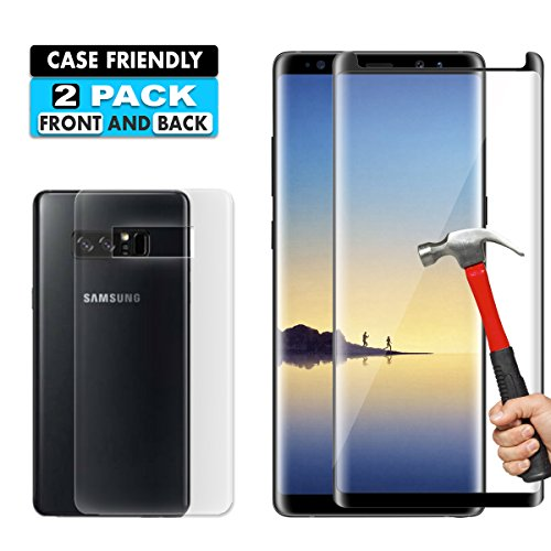 Galaxy Note 8 Screen Protector [2-Pack], 9H Hardness 3D HD Clear Full Coverage Screen Protector for Samsung Galaxy Note 8 And TPU Screen Protector Anti-Bubble – Anti-Scratch