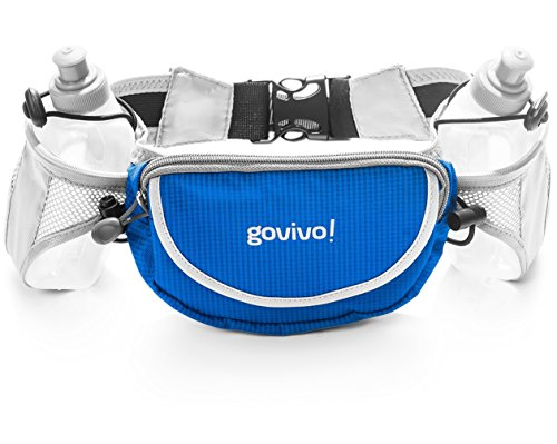 Running water bottle belt, Runners Hydration Waist Pack Includes 2 BPA Free 9oz Water Bottles by Govivo (blue)
