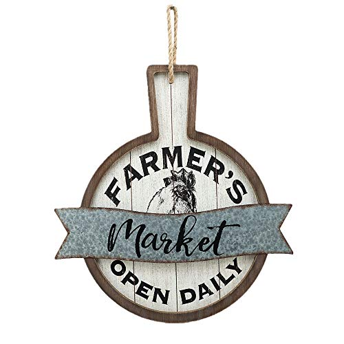 Parisloft Farmer's Market Open Daily Wood and Metal Circular Signs|Rustic Farmhouse Kitchen Wood Sign Plaque Wall Hanging Decor 17.75x0.5x19'' (Decor Market Wall Size)