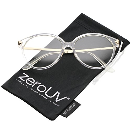 zeroUV - Classic Translucent Metal Arrow Temple Clear Lens Cat Eye Glasses 55mm (Clear-Gold / - Glasses Translucent