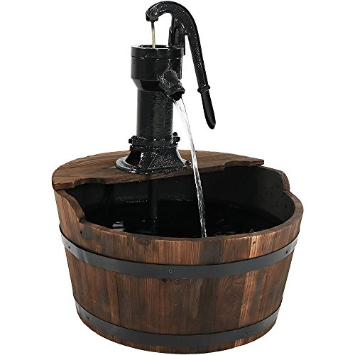 Sunnydaze Old-Fashioned Wood Bin Outdoor Fountain with Wa...