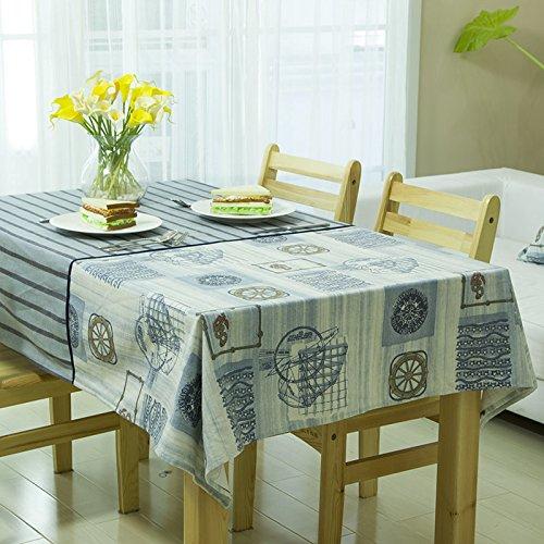 - Table Cloth Cloth Cotton Tablecloth Mat Mediterranean Stripe Mosaic,Blue Ocean,140×220Cm
