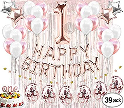 1st Birthday Decorations Girl.Festiko 1st Birthday Party Decorations Girl Combo Pack Of 39