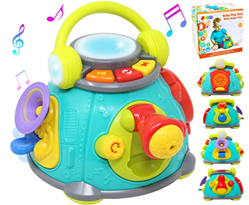 JOYIN Musical Activity Cube Play Center Baby Toy with LED Light Up for Infants, Toddler Interactive Learning Development, Singing Sensory, Rhythm Gifts and Children Holiday Toy Gift.