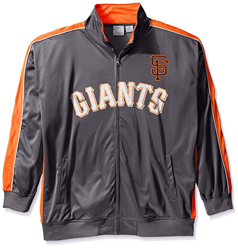 MLB San Francisco Giants Men's Team Reflective Tricot Track Jacket, 4X, Charcoal/Orange by Profile Big & Tall