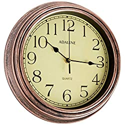 Adalene Wall Clocks Battery Operated Non Ticking - COMPLETELY SILENT 12 Inch Vintage Rustic Wall Clocks for Living Room Decor, Analog Kitchen Wall Clock - Retro Wall Clocks Large Decorative Wall clock