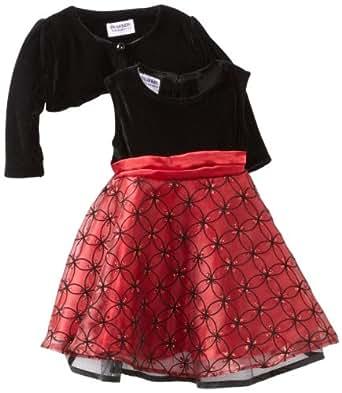 Blueberi Boulevard Baby Girls' Cardigan Flock Velvet Dress, Red, 12 Months